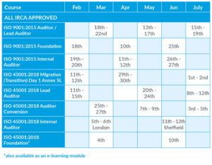 course schedule 150119 2019